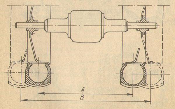 Схема регулировки колеи задних колес трактора