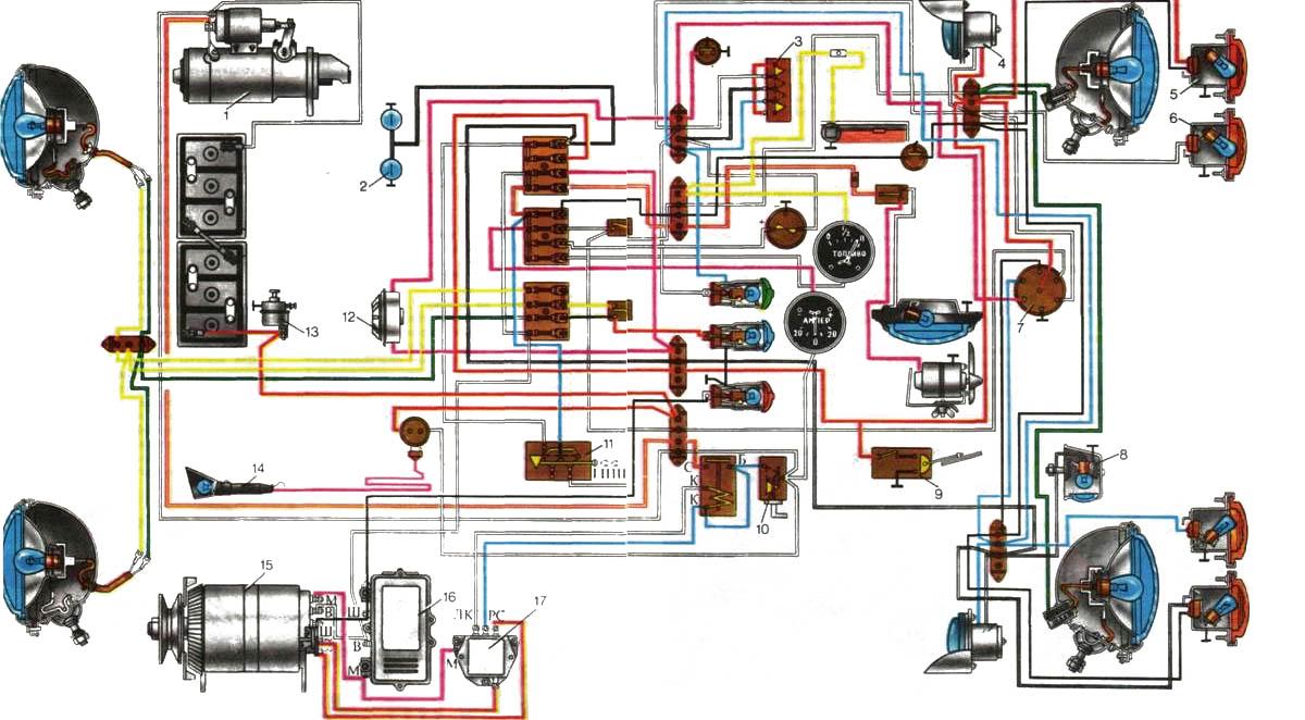 Схема электропроводки МТЗ и ЮМЗ